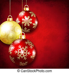 Christmas balls on a red background