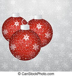 Christmas balls on a silver background with frosty