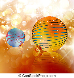 Christmas balls on abstract background.