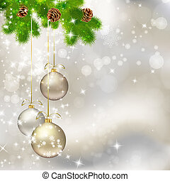 Christmas balls on abstract light grey background