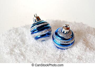 Christmas balls on background