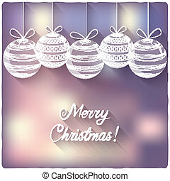 Christmas balls on blurred background