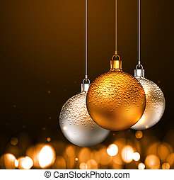 Christmas balls on dark background