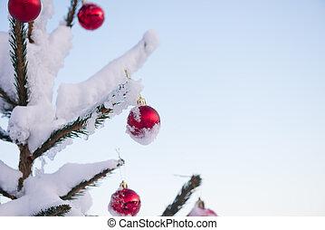 christmas balls on pine tree - christmas red balls on pine...