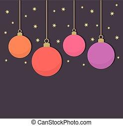 Christmas balls on purple background
