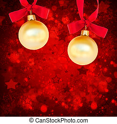 christmas balls on red background
