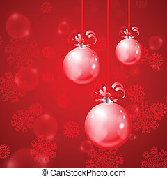 Christmas balls on red background with snowflakes