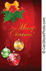 Christmas balls on red with branch & text