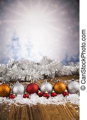 Christmas balls on shiny background
