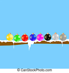 christmas balls on the branch vector illustration