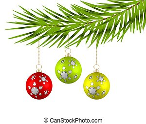Christmas balls on the branches of a tree. Vector illustration.