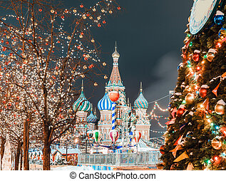 Christmas balls on tree branches in Red square - Decorations...