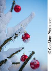 christmas balls on tree
