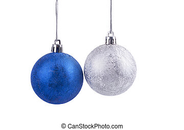 Christmas balls on white background.
