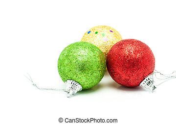 Christmas Balls on white background .