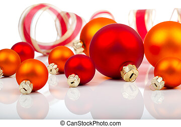 Christmas balls / ornaments, on a white background with copy space