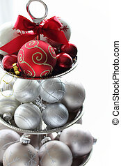 Christmas balls ornaments on silver cake stand