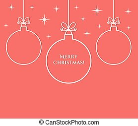 Christmas balls ornaments outlines on red background