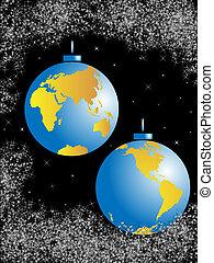 Christmas balls-planet