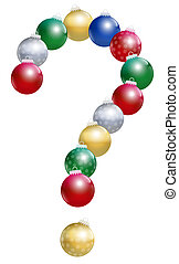 Christmas tree balls that form an interrogation mark, as a symbol of questions concerning xmas topics. Isolated vector illustration on white background.