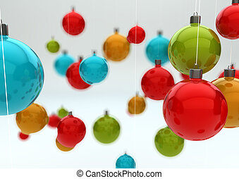 christmas balls - render of a colorful background of...