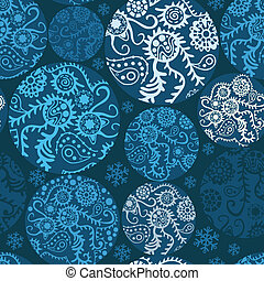 Christmas balls seamless pattern in blue