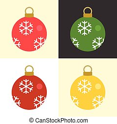 Christmas balls set collection with snowflakes pattern, flat design