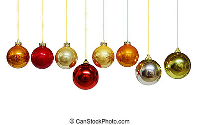 Christmas Balls - Set of Christmas ornament balls isolated...