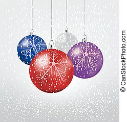Christmas balls. Set of isolated realistic decorations. Vector illustration.