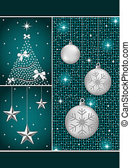 Christmas balls, tree and stars
