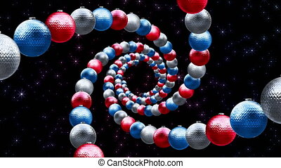 Christmas balls twisted in a spiral. Red, blue and white. They fly in the tunnel in rotation. Abstract background for New Year and Christmas.