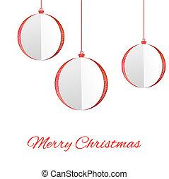 Christmas balls - Cut the paper Christmas balls. Vector...