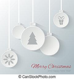 Christmas balls - Paper cut Christmas balls. Vector EPS10...