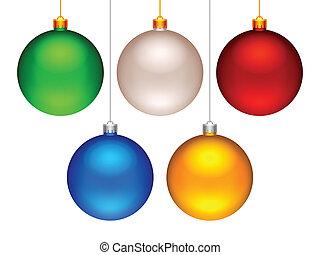 Christmas balls. - Set of 5 color Christmas balls.