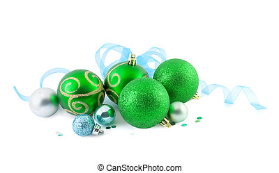 Christmas balls with a blue ribbon