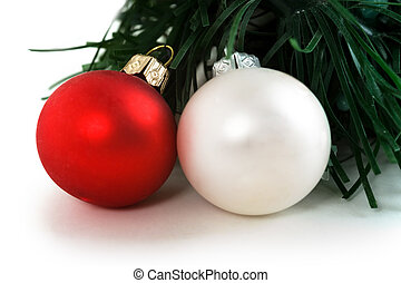 Christmas balls with a decorative fur-tree