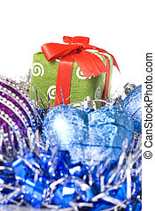 christmas balls with and gift with decoration isolated on white