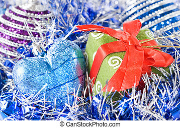 christmas balls with and gift with decoration