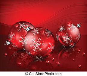 Christmas balls with beads in red
