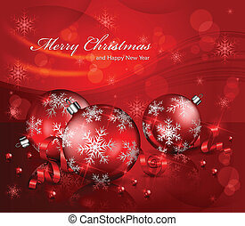 Christmas background with balls and beads & text, vector illustration
