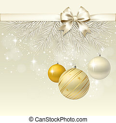 Christmas balls with bow vector background