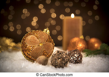 Christmas balls with candle