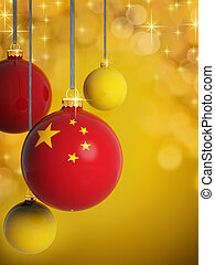 Christmas balls with Chinese flag in front of lights background