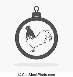Christmas balls with cock Icon flat vector