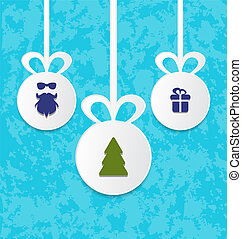 Christmas balls with decoration design elements