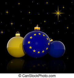 Christmas balls with European Union flag on black background