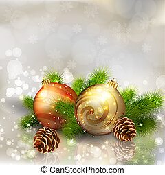 Christmas balls with fir branches on abstract light grey background. Vector eps10 illustration