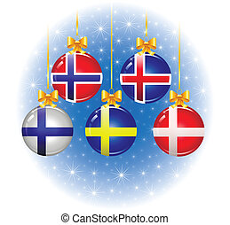 Christmas balls with flags of the Scandinavian