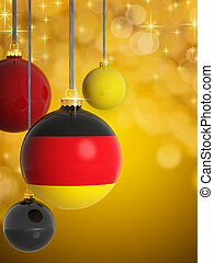 Christmas balls with German flag in front of lights background