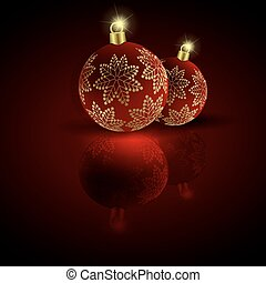 Christmas balls with golden snowflakes on a dark red background